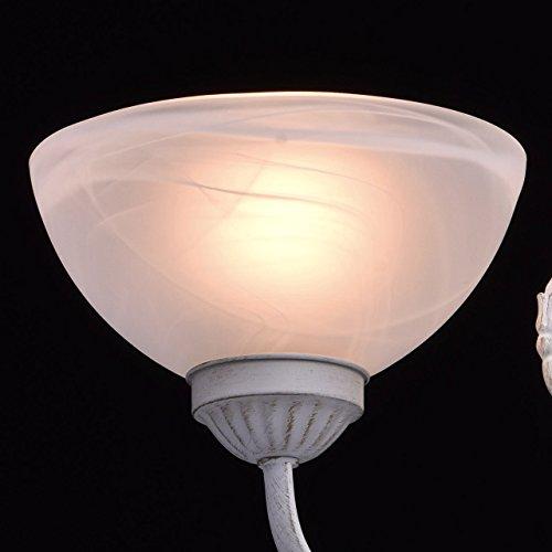 Kronleuchter klein 3-flammig matte weiße Glassichrme klassisch - 6