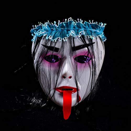 SPFAZJ Super Halloween Horror Bar Halloween Gesicht Zombie-Vampir-Monster-trockene Haut Schädel Maske rot Zunge Perücke Maske (Light Perücke Up)