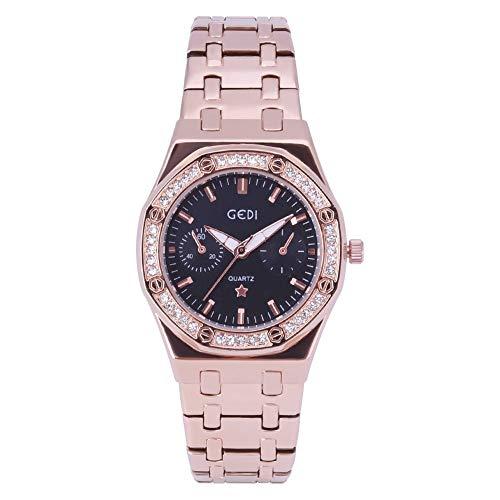 Deloito Damen Mode Luxus Uhr Voller Diamant Edelstahl Band Quadrat Armbanduhr Analoger Quarz Runde Uhren (Schwarz)