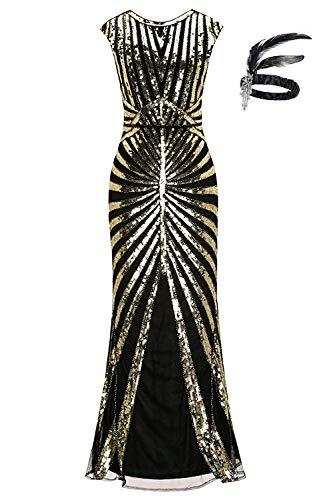 1920er Jahre Pailletten Meerjungfrau Formale Lange Flapper Kleid große Gatsby Party Abendkleid (M (EU 38-40), schwarzes ()