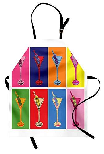 Soefipok Alkohol-Schürze, Bunte Pop-Art-Art Martini-Gläser Oliven Design mit lebhaften Kontrastfarben, Unisex-Küchenschürze mit verstellbarem Hals zum Kochen Backen Gartenarbeit, Multicolor