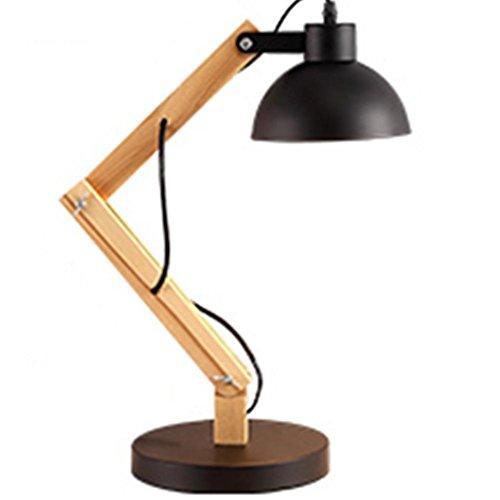 FWEF Lampade da tavolo decorativo ferro legno pulsante interruttore lampade IKEA nordica Lampade da comodino salotto creativo lettura lampada tinta legno industria