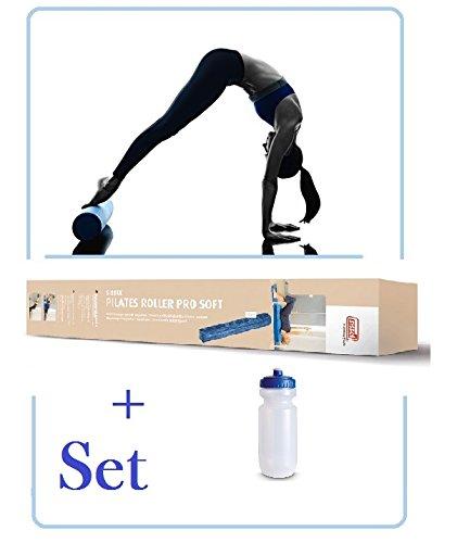 SISSEL Pilates Roller Pro Soft - (Blau - 90 cm) mit Trinkflasche als SET, für Anfänger und Fortgeschrittene **NEU**