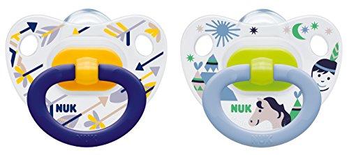 Preisvergleich Produktbild NUK 10177064 Happy Days Silikon - Schnuller mit Ring, kiefergerecht, Größe 3, 18 - 36 Monate, 2 Stück, Boy