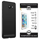 Thegiftkart HD Tempered Glass & Rubberised Matte Finish Soft Back Cover Black For 10.Or D2