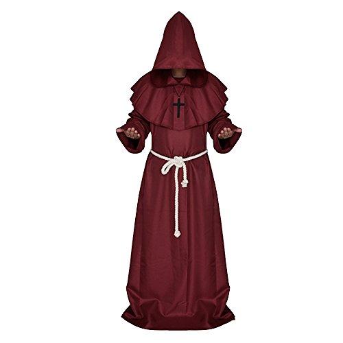 Vococal Zauberer Kapuzen-Robe Vampir Zauberer Ritter Kostüm Cape mit Kapuze Cape Halloween Karneval Party (Ritter Halloween)
