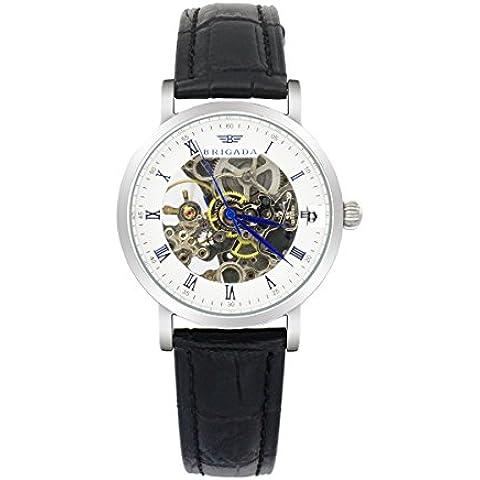 Brigada da uomo 6010G quarzo analogico orologi impermeabile moda Tourbillon Orologio da polso con cinturino in pelle nero