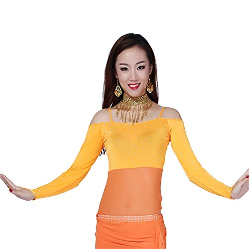 Women Sexy Dance Tops Bauchtanz Costume Long Sleeve With Crystal Off Shoulder Tops Dancewear Bauchtanz (Kostüme Womens Plus Größe Halloween Für Billig)