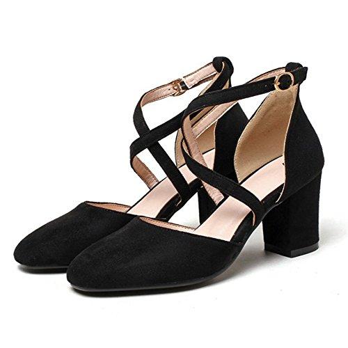 b136a7759a COOLCEPT Damen Mode Kreuz Sandalen Geschlossene Blockabsatz Schuhe Schwarz