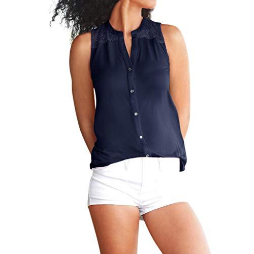KOKOUK Damen Sommer äRmellose Spitze Panel Weste Womens O Neck Casual Weste äRmellose Spitze Patchwork Tank Tops T-Shirt Top Bluse -