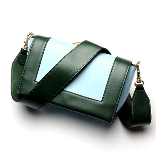 PACK Hit Farbe Kleine Quadratische Tasche Schulter Diagonale Kreuz Packet Leder Handtaschen,E:GreenWithBlue E:GreenWithBlue