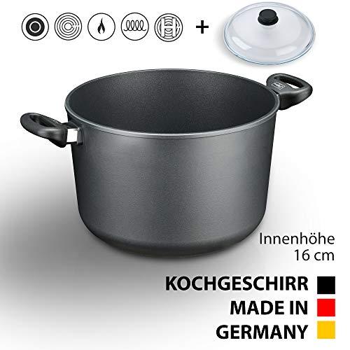 Hoffmann Induktions Schmortopf Made in Germany 28cm 8 Liter I 16 cm Höhe I Gemüsetopf Kochtopf beschichtet I Großer Topf I Spargeltopf Aluminium Guss I Glasdeckel Induction Cookware Aluguß