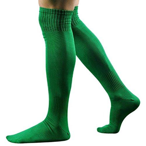 Kolylong® 1 Paar Männer Sport Fußball über Knie-hohem Baseball Eishockey Socken (43 cm) Grün