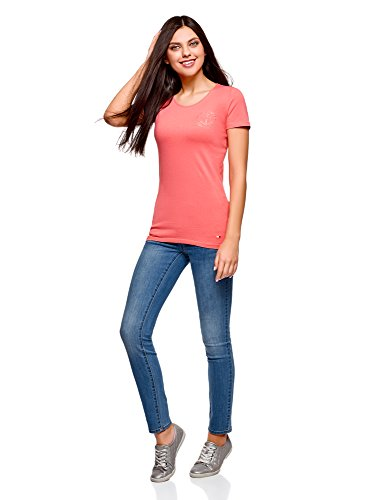 oodji Collection Donna T-Shirt con Decorazioni in Strass Rosa (4D00N)