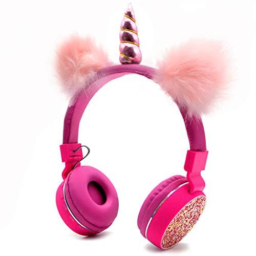 Casque Bluetooth 5.0 Licornes avec Oreilles de Chat moelleuses pour Enfants, Casque Bandeau Pliable Casque Rechargeable Support Carte TF, FM, AUX in Red