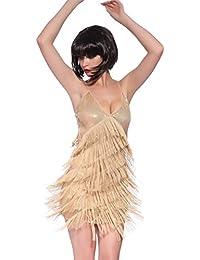 Fransen Flapper Kleider Fransenkleid Hochzeitkleid Latein Tanzkleid Partykleid Mini Charleston Kleider