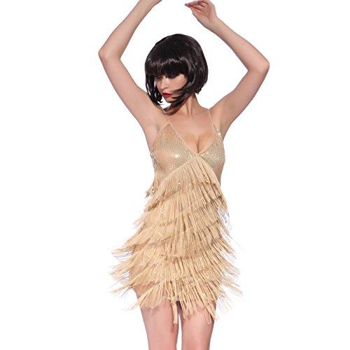 der Fransenkleid Hochzeitkleid Latein Tanzkleid Partykleid Mini Charleston Kleider (Charleston Halloween)