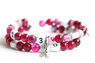 Bracelet d'allaitement avec perles en agate de couleur rose foncé