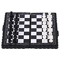 Portable Folding Magnetic Pocket Plastic Chess Chess Entertainment for Party&(Color:Black+White)