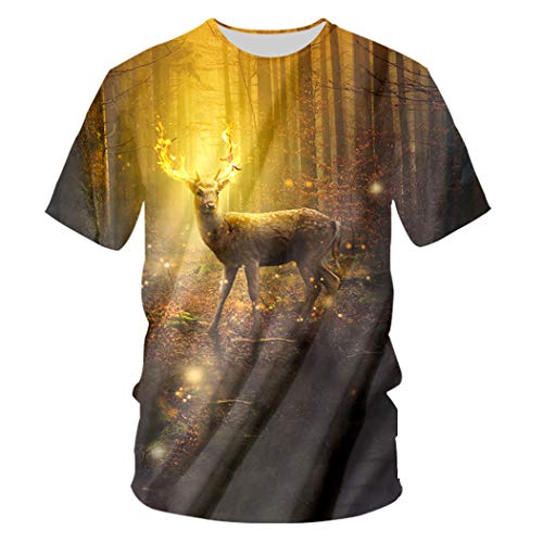 Man Harajuku Loose O Neck 3D-bedrucktes Kurzarm-T-Shirt mit lustigen goldenen Rehen Golden Deer XXL - Golden Eagle Deer