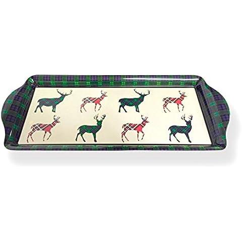 Tartan Ciervo–melamina Bandeja para sándwiches, diseño de ciervo de tartán escocés–Bandeja de souvenir