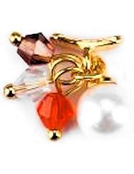 2 Stück OVERLAYS #81 Goldener Karabiner mit bunten Straßperlen und weißer Perle M-116