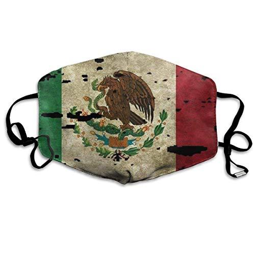 Gesichtsmaske für Jungen und Mädchen, Anti-Allergien, Anti-Allergie, Ohrschlaufe, Gesichts- und Nasenabdeckung, Malerei, Polyester-Maske, verstellbar, elastischer Riemen, Flagge von Mexiko Tattered