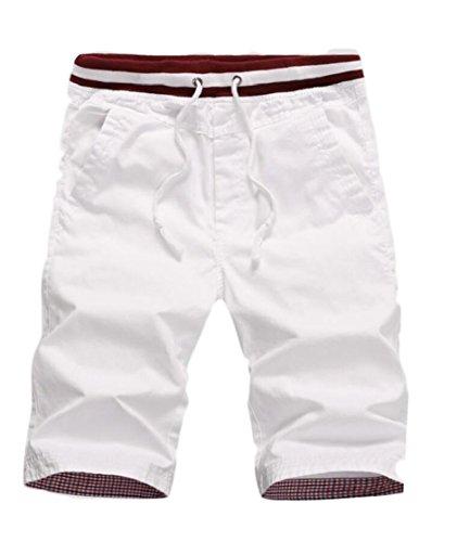 Gocgt Men Slant Pockets Shorts Beach Wear Fast Dry Stretchy Waist Strappy Shorts