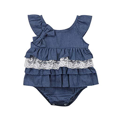 Wang-RX Neugeborene Kinder Baby Kleine Prinzessin Blau Strampleroverall Party Spitze Tutu Baumwolle Kleid Kleidung Outfit 0-18 Mt (Und Der Frosch-outfits Prinzessin)