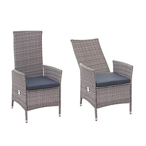 Mendler 2X Poly-Rattan Sessel HWC-E22, Gartensessel Gartenstuhl, verstellbar ~ grau, Kissen dunkelgrau
