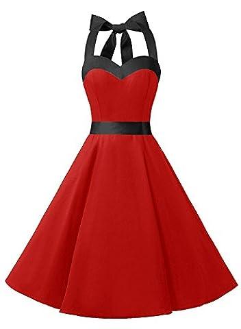 Dresstells® Halter 50s Rockabilly Polka Dots Audrey Dress Retro Cocktail Dress Red Black 3XL