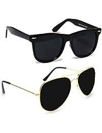 Combo Set Of 2 Fashion Wayfarer Goggle And Sunglasses Ideal For Men Women Boys And Girls (Black Rubber Frame Jet...