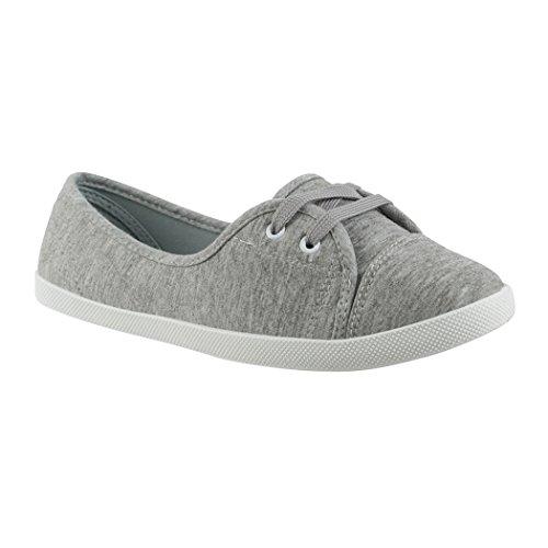 Elara Damen Ballerinas | Bequeme Sneaker Slipper | Schnürer Halbschuhe | Sportlich Flats | Chunkyrayan | 3955A Grey-36