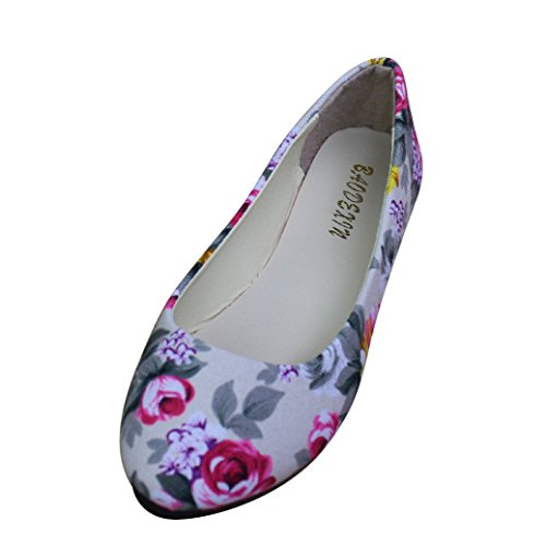 Zapatos para el Bolso, Bailarinas de Señora, Bailarinas Estampado Floral, Zapatos de Bolsillo, Beige,EU...