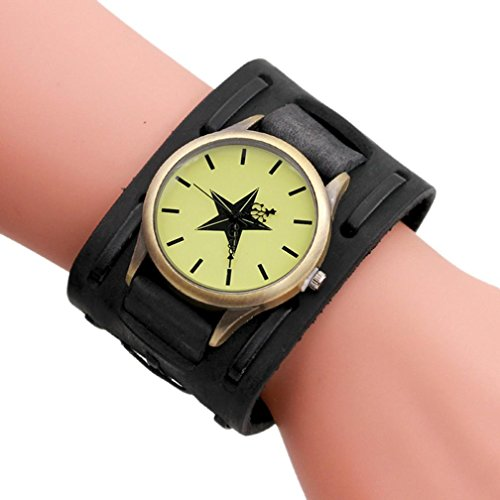 Hunpta Herren Leder Armband geflochten Wicklung Nieten Armband Uhren Armbanduhr (Schwarz F)
