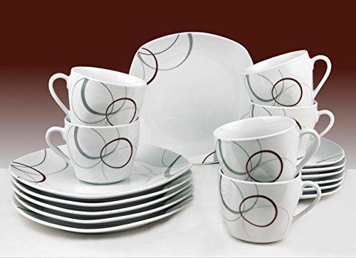 Kaffeeservice Palazzo 18tlg. - weiß mit Dekor-Kreisen in grau und dunkelrot - für 6 Personen