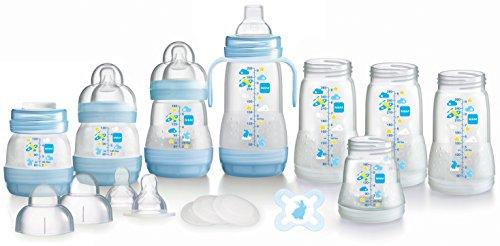 MAM - Juego de biberones con la auto-esterilización sistema anticoliche, 2 x 130 ml, 2 x 160 ml, 4 x 260 ml, 4 tetinas de flujo lento, 4 tapones, una boquilla blanda, 1 mango, 1 chupete, Azul (Azul)