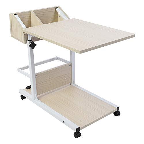 Lyrlody tavolino da letto carrello,tavolino pieghevole a rotelle,con ruote tavolino porta pc notebook,con cassetto portaoggetti,tavolo regolabile in altezza,50-80cm(weiß)