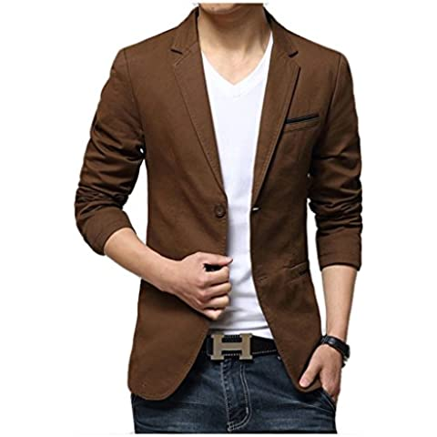 Linyuan Fashion Style Men's Suit Coat Slim Blazer Casual Formal Jacket 2 Buttons