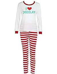 Hzjundasi Conjunto Pijamas Familia Navidad - Otoño Invierno Mujer Hombres Niños Navidad Ropa de Dormir Trajes Impreso Pijama Traje, Rojo/Blanco