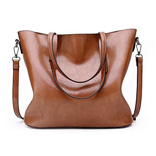 DONYKARRY Top Handle Handbags Para Damas Bolsos De Piel De Vacuno Para Mujeres Bolsos De Hombro Grandes Genuinos Bolsos Cruzados De Cuero (Marrón)