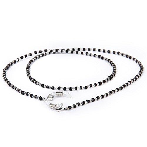 VORCOOL 60cm Lange Fashion Kristall Perlen Perlen Gläser Brillen Sonnenbrille Brille Kette Halter Halskette (Schwarz + Klar)