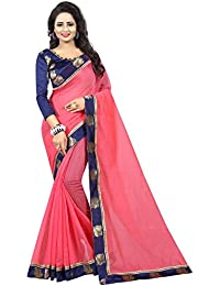 Vastrang Women's Plain Chanderi Cotton Saree With Silk Peacock Lace Border & Blouse Piece_1313