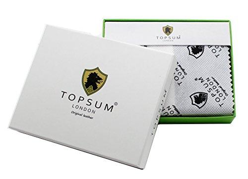 Topsum® London Herren Luxus Gemüse Gegerbte Leder Brieftasche Mit Mehreren Kreditkarten Taschen ID-Karte Tasche Und Münztasche - Kommt In Einem Geschenk-Box #4014 (Braun) Braun