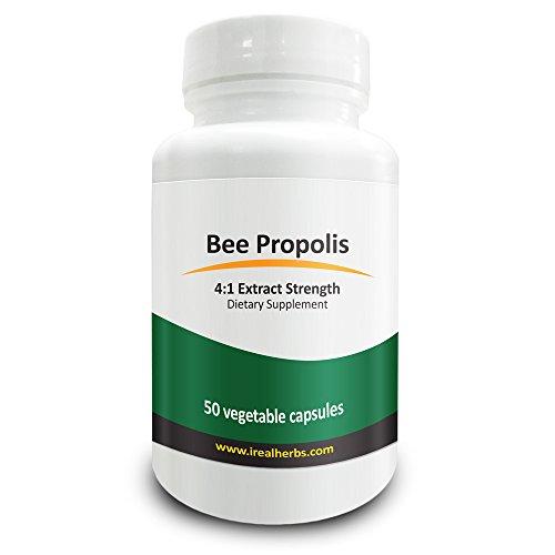 Real Herbs Extracto de propóleos de abeja - Derivados de 2.800mg de propóleos de abeja con 4:1 fuerza del extracto - Apoyo anti - inflamatorio y antioxidante mejora la función inmunitaria - 50 cápsulas vegetarianas