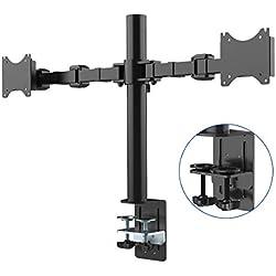 """Fleximounts D1D Monitorhalter Tischhalterung Standfuß mit 2 Armen für 2 Monitore 10""""-27""""(25-68cm) LCD LED TV Bildschirme Flachbildschirm, Belastbarkeit:10 kg/pro Monitor, neigbar, schwenkbar 360°, höhenverstellbar"""
