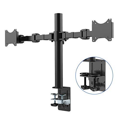 """FLEXIMOUNTS Soporte de mesa con doble brazo de movimiento completo cuadra a monitor de 10""""-27"""" (25-69cm) (D1D)"""