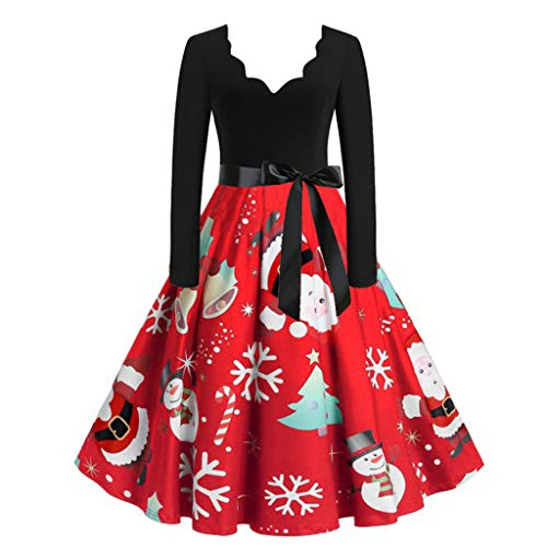 LEXUPE Damen Weihnachtskleider, Frauen Geschenk Vintage Christmas Print Langarm Oansatz Abend Party Festival Swing Kleid Club Karneval Kleid Karneval Kostüme Dress Kleid(R-Rot,Large)