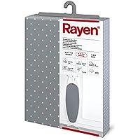 Rayen - Funda para tabla de planchar Universal (funda de planchar alcolchada y fácil de colocar con sistema EasyClip), 3 capas: Espuma, Muletón y tejido 100% de algodón. Gama Medium de Rayen. 130x47 cm, Gris con lunares rosas