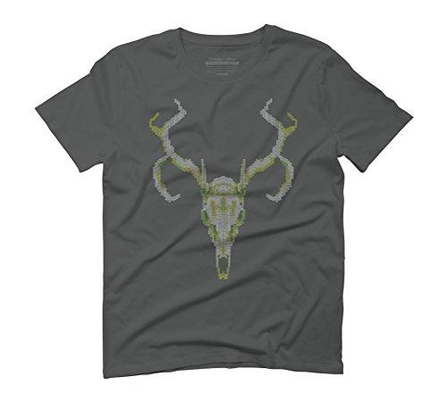 Reindeer Skull Men's Graphic T-Shirt - Design By Humans Anthracite